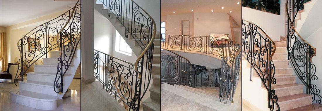 rampe d 39 escalier d billard e en fer forg mod le 2. Black Bedroom Furniture Sets. Home Design Ideas